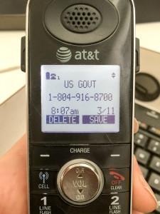 Caller ID of Fraud Call
