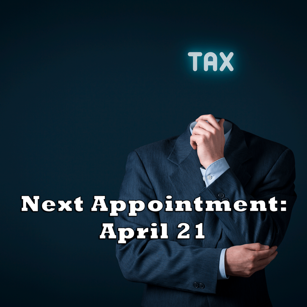 Next appointment April 21st graphic