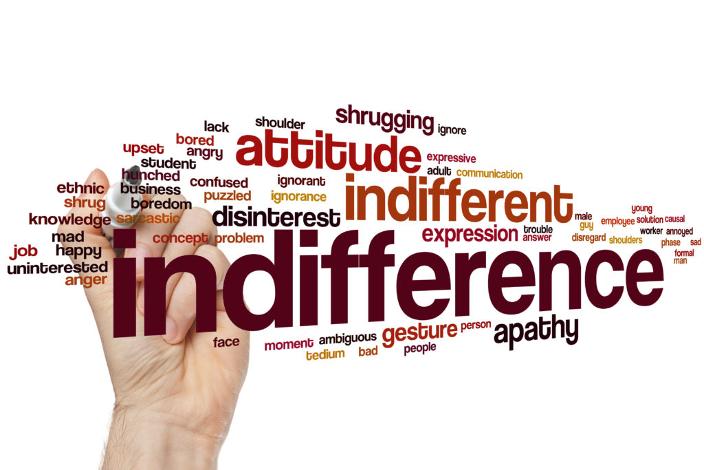 Indifference word cloud concept with disinterest ignore related tags